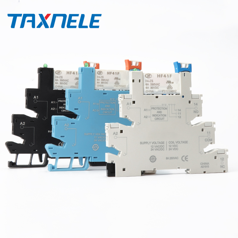 DIN RAIL HF41F 12V 24V Integrated PCB Mount Power Relay With Relay Holder Voltage Contact Relay Module Set