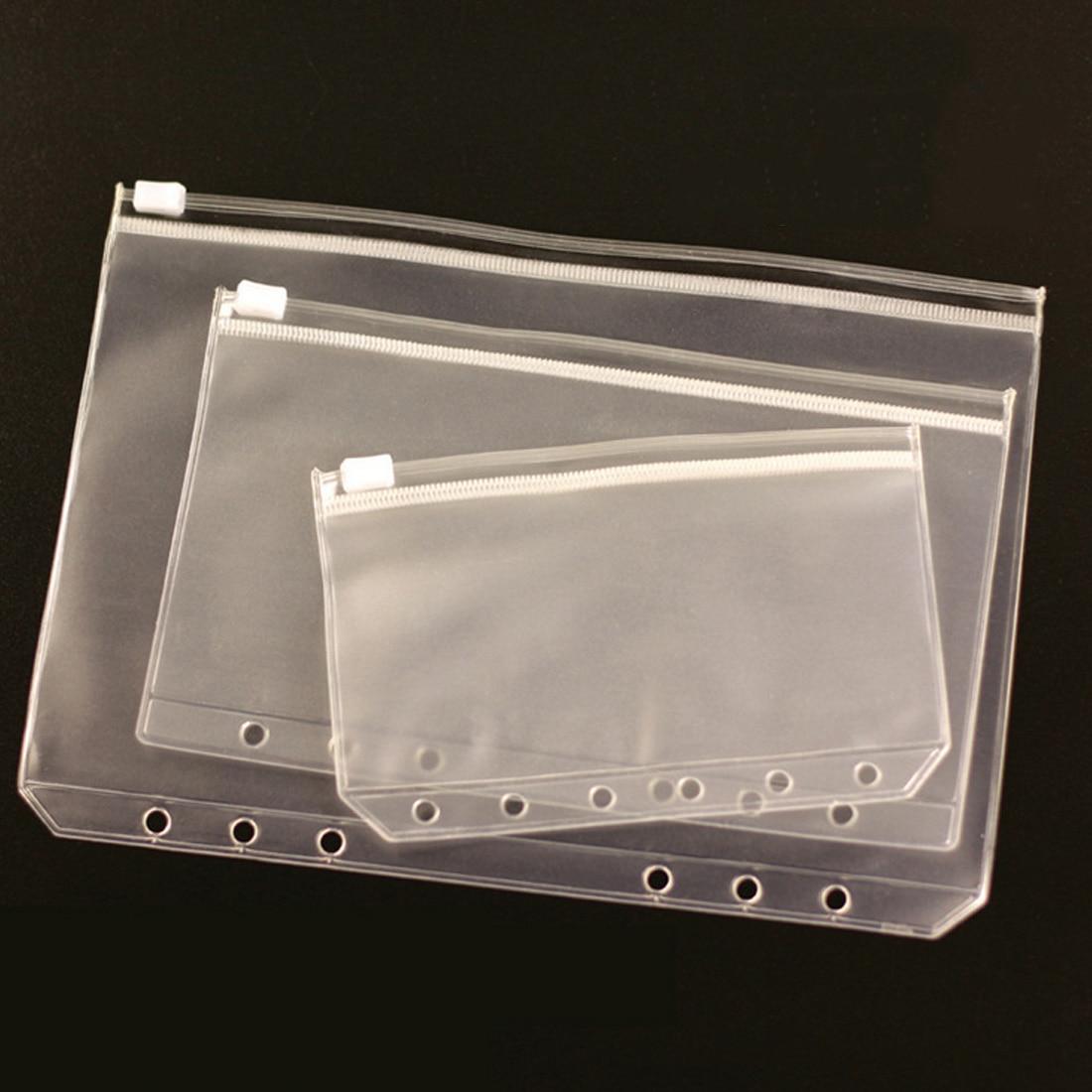 6 Hole Loose-leaf Bag Bill Storage Bag Universal Waterproof Transparent Document Bag Transparent Zipper Pull Bag