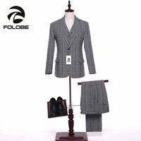 FOLOBE New Wool Men Suits Xám Sọc Ca Rô Terno Cưới Suit Groom Tuxedo Kho Wool Suits (Áo + quần + Áo vest) M13