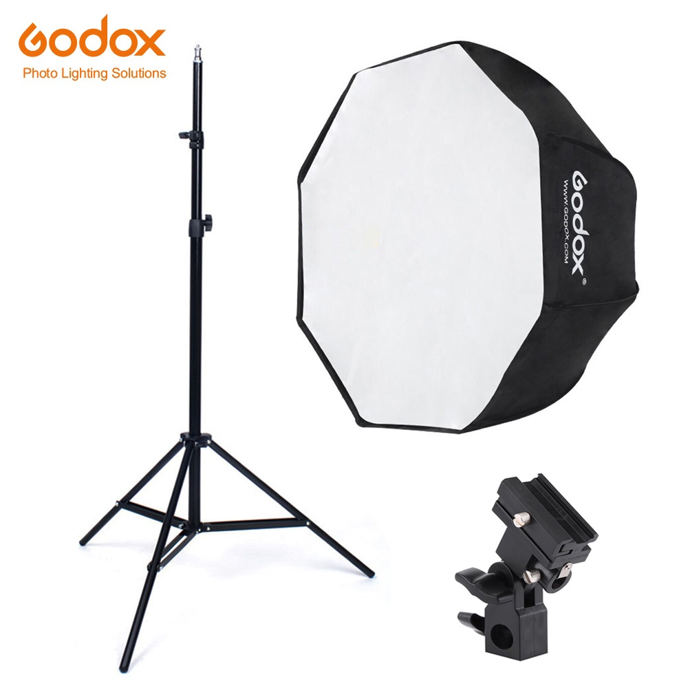 Godox 80cm octagon umbrella softbox Light stand umbrella Hot shoe bracket kit for Strobe Studio Flash Speedlight PhotographyGodox 80cm octagon umbrella softbox Light stand umbrella Hot shoe bracket kit for Strobe Studio Flash Speedlight Photography