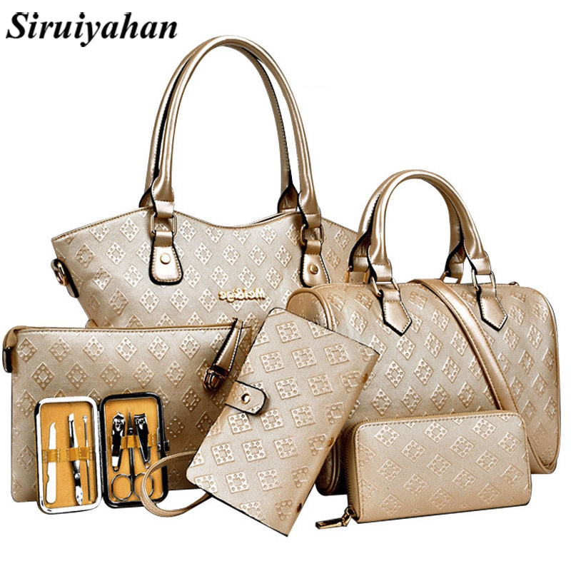 Siruiyahan 6Set Luxury Lady Handbag 2018 Composite Bags Women Messenger Bags Shoulder Crossbody Bag Female Purse Clutch Wallet 1 смеситель для кухни kaiser vincent под фильтр sandbeige песочный мрамор 31744 4
