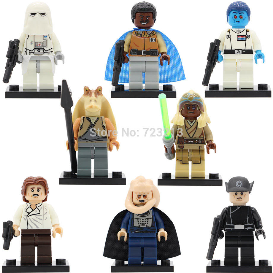 Star Wars Figure Single Sale Snowtrooper Jar Jar Binks Thrawn Han Solo Stass Lando Calrissian Building Blocks Model Toys PG8050 arya 4 cherry 1025577