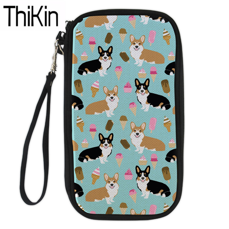 Luggage & Bags Thikin Large Capacity Travel Passport Cover Women Cute Corgi Printing Clutch Credit Card Holder Passport Wallet Purse Money Bag Card & Id Holders