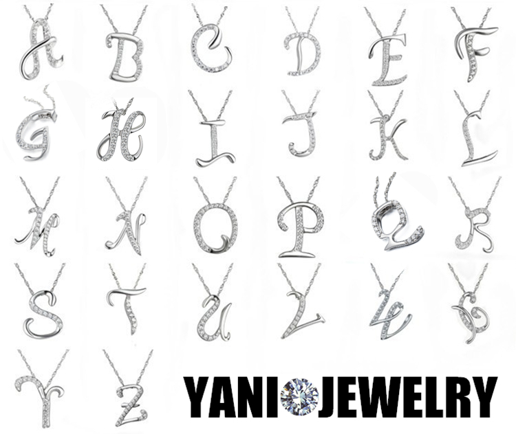 Newest Silver Crystal A Z Letter Necklace, Charm Initial