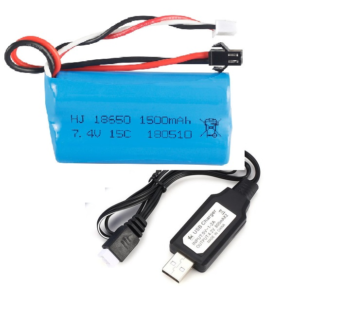<font><b>7.4V</b></font> <font><b>1500mAh</b></font> SM Plug Rechargeable Li-ion <font><b>Battery</b></font> with USB <font><b>Charger</b></font> for RC Boat H100 Q1 Spare Parts Accessories image