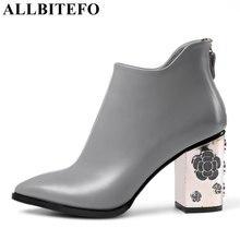 Allbitefo/Модные Ретро Натуральная кожа толстый каблук женские ботинки высокая обувь на каблуке полый каблук дизайн ботильоны зимние ботинки