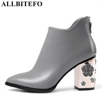 ALLBITEFO Fashion Retro Genuine Leather Thick Heel Women Boots High Heel Shoes Hollow Heel Design Ankle