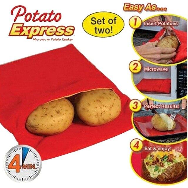 Bolsa de cocina lavable roja, bolsa lavable para asar, bolsa de microondas para cocinar patatas rápido, bolsillo para Patatas al horno fácil de cocinar, Gadget de cocina