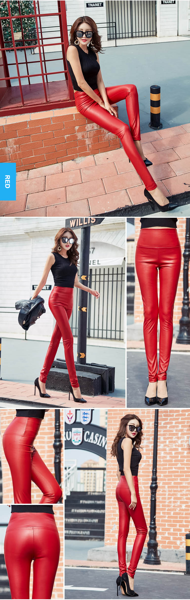 Autumn Winter Women Thin Velvet PU Leather Pants Female Sexy Elastic Stretch Faux Leather Skinny Pencil Pant Women Tight Trouser 35