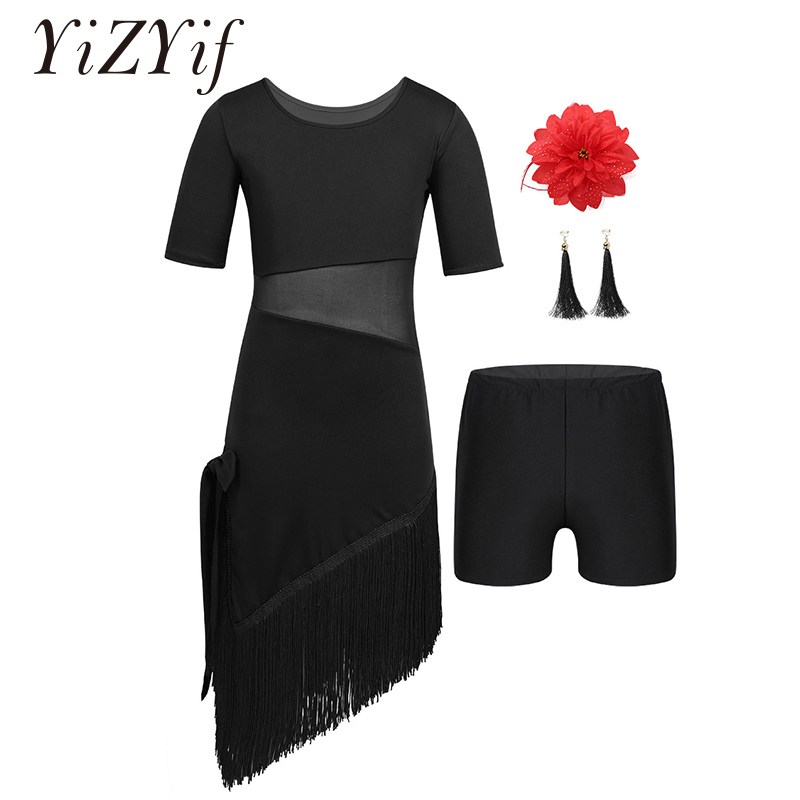 YiZYiF Latin Dress For Girls Dance Tassel Dress Salsa Tango Ballroom Dancing Dress Competition Costumes Kids Practice Clothing