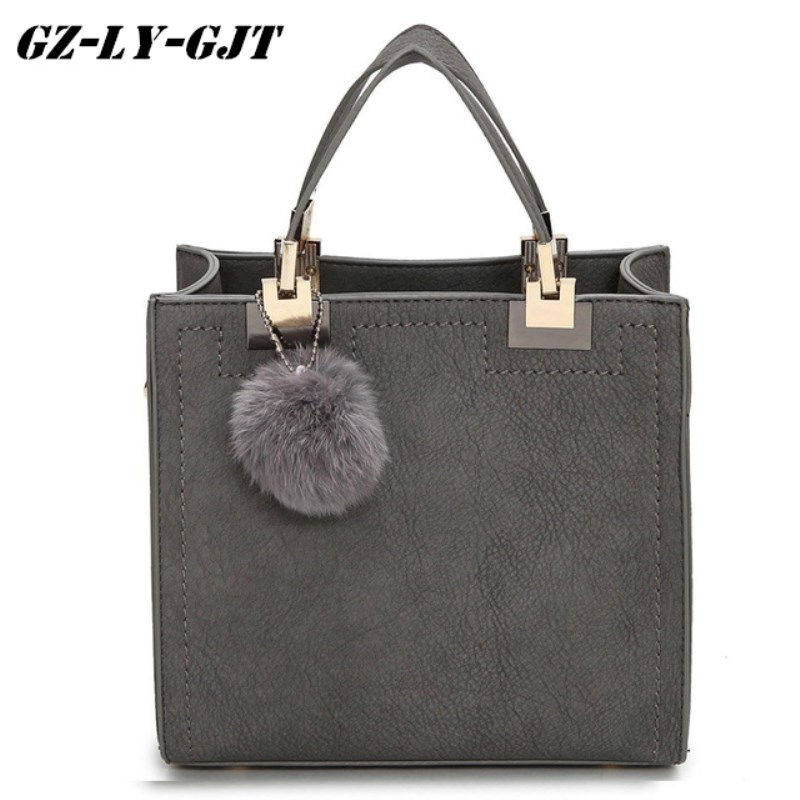 Fashion Handbag Women Casual Tote Bag Female Large Shoulder Messenger Bags High Quality PU leather Handbag With Fur Ball Bolsa 2017 new elegant handbag for women high quality split leather female tote bags stylish red black gray ladies messenger bag