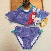 wholesale 6/lot The Little Mermaid two pieces rash guard kids Mermaid bikini swimsuit girls sun protection anti-uv swimwear