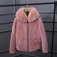 Winter Fuax fox collar Very good quality sheep Fur Coat Winter Women Luxury Faux Fox Fur Furry Slim Woman Fake Fur jacket wj1765