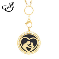Mother & Child Shape 30/25mm Stainless Steel Aromatherapy Essential Oil Diffusing Perfume Locket Floating Locket Pendant PEI603
