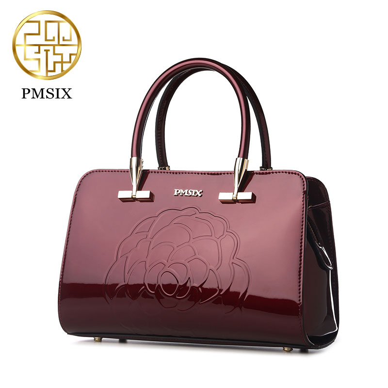 Cowhide handbag Pmsix Chinese style 2017 embossed patent leather shoulder crossed mother big bag woman wine red P120058 patent leather handbag shoulder bag for women