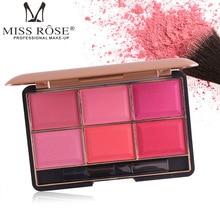 MISS ROSE Professional Makeup Blusher Long Lasting 6 Colors Minerals Powder Natural Face Base Blush Contouring Make Up Palette недорого