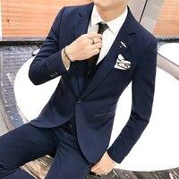 ( Jackets + Vest + Pants ) Groom High end Brand Wedding Dress Suit Three piece Suit Men's Solid Color Casual Business Suit Male