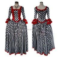 ladies womens polka dot long medieval dress Renaissance costume Victorian Gothic Lol/Marie Antoinette/Colonial Belle Ball