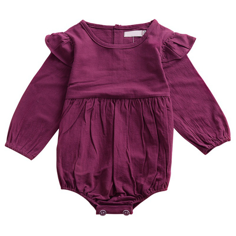 Infant Baby Fly Sleeve Long Jersey Romper Girl Jumpsuit Cute Princess 0-24M