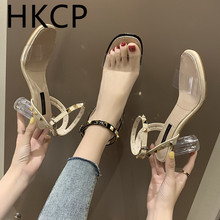 HKCP Fashion Chunky sandals women 2019 new transparent heels crystal shoes high retro Roman fairy C150