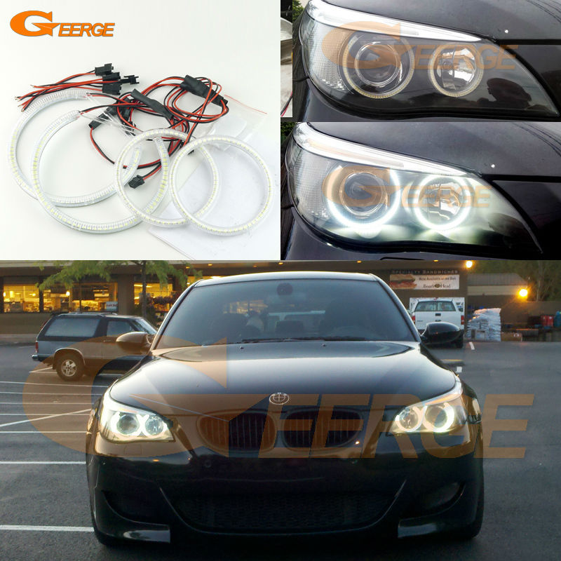For BMW E60 E61 525I 530I 540I 545I 550I M5 2003-2007 Xenon Headlight Excellent Ultra bright illumination smd led angel eyes kit for bmw e60 e61 lci 525i 528i 530i 535i 545i 550i m5 xenon headlight excellent drl ultra bright smd led angel eyes kit