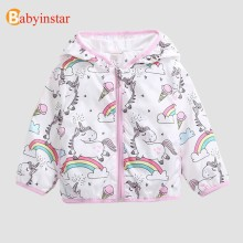 Babyinstar 2018 Children Unisex Boy & Girl's Rainbow Unicorn Coats Baby Girl WindProof Jacket Children Outwear & Coat(China)