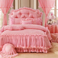 Red Pink Purple Princess Korean style Lace Bedding set Luxury Queen King Bed sheet Duvet Cover bed set Bedskirt parure de lit(China)