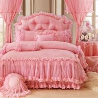 Red Pink Purple Princess Korean style Lace Bedding set Luxury Queen King Bed sheet Duvet Cover bed set Bedskirt parure de lit