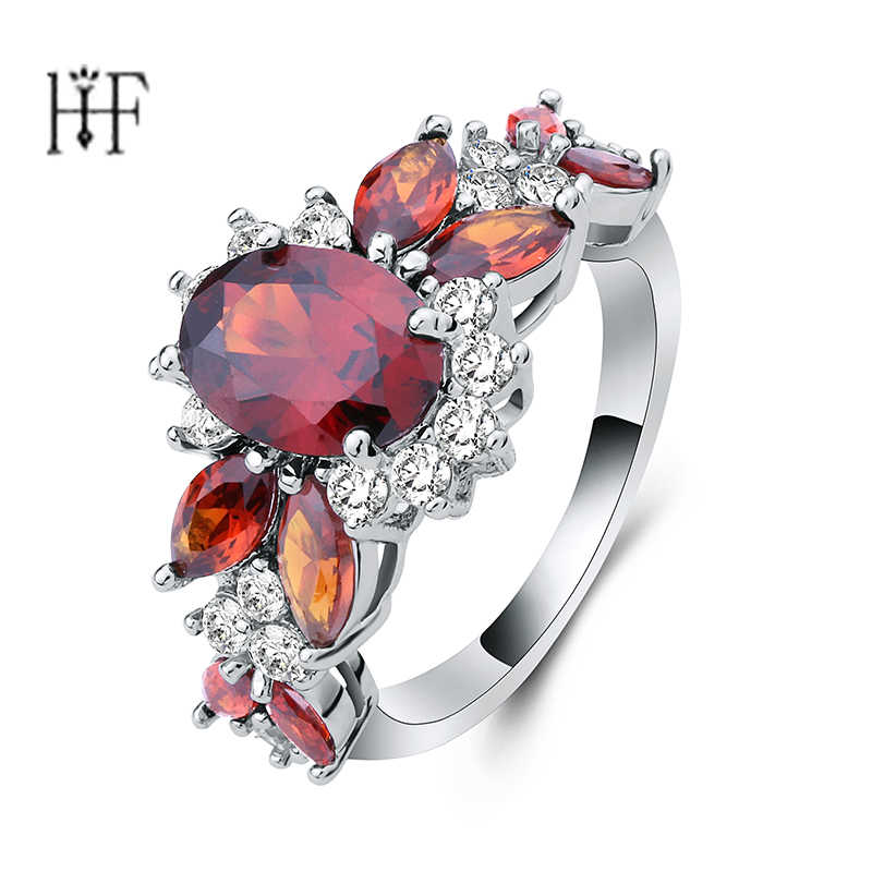 Leaf Trendy Ring Aneis Red Purple zircon stones Gun Black / Silver Colors Beautiful female jewelry Pretty Excellent finger Ring