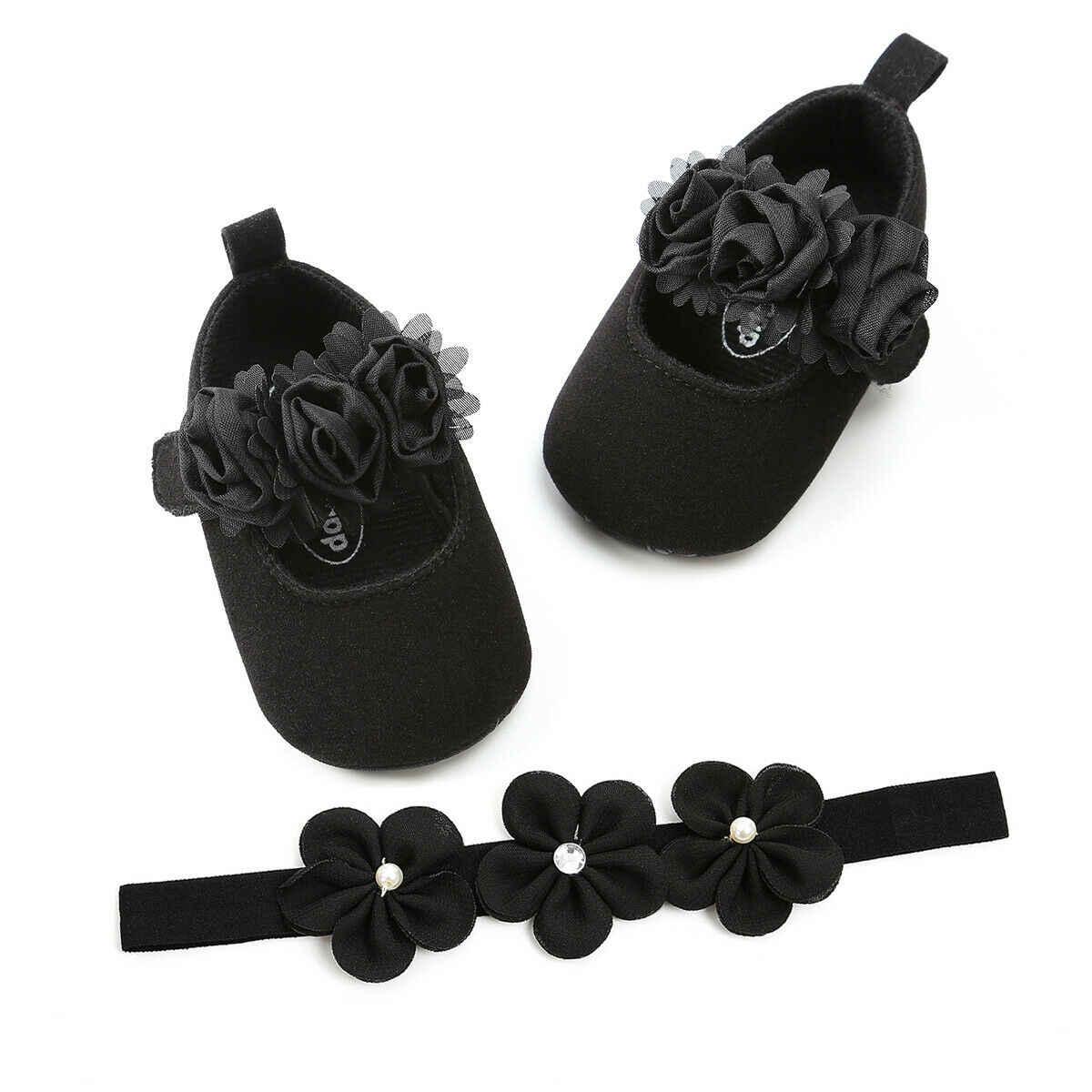 2019 Baby First Walkers recién nacido bebé niñas niños encaje cuna zapatos diadema 2 piezas juegos flores encaje gancho suave zapatos de suela