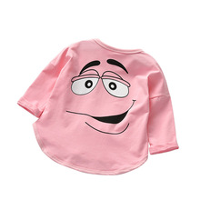 Baby Long Sleeved T-shirt Girl 1-6 Year Old Cotton Spring and Autumn Cartoon M Tops Three Colors Candy Toddler Girls T Shirt