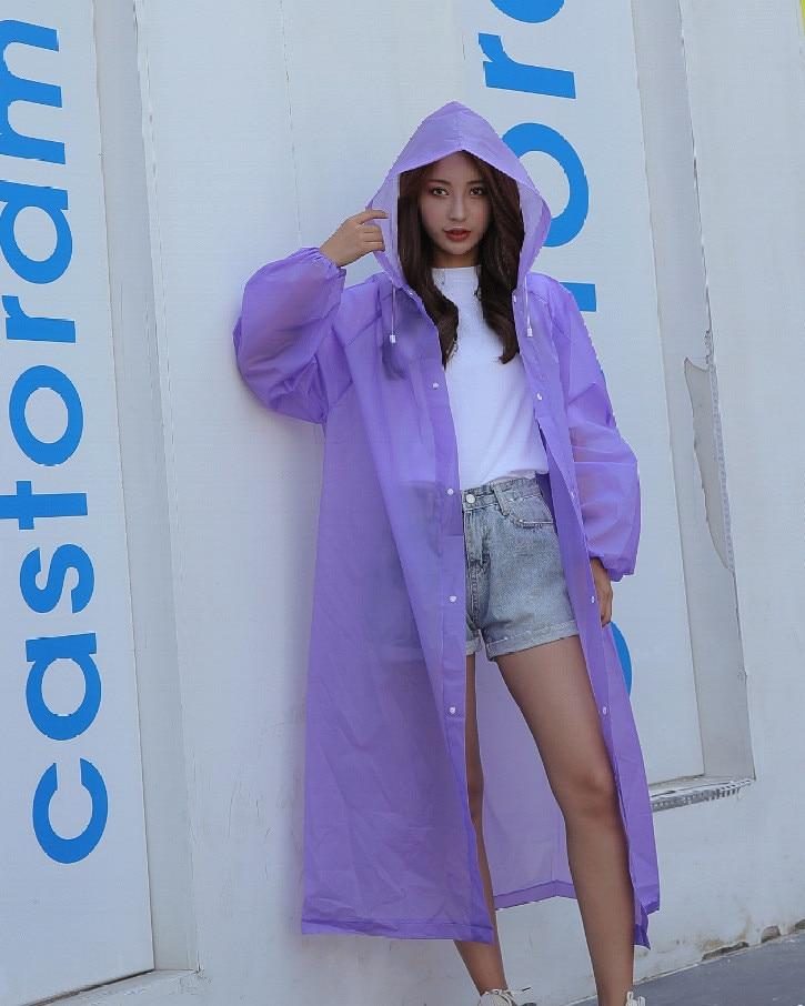 5.Fashion EVA Women Raincoat Thickened Waterproof Rain Coat Women Clear Transparent Camping Waterproof Rainwear Suit Rain jacket_