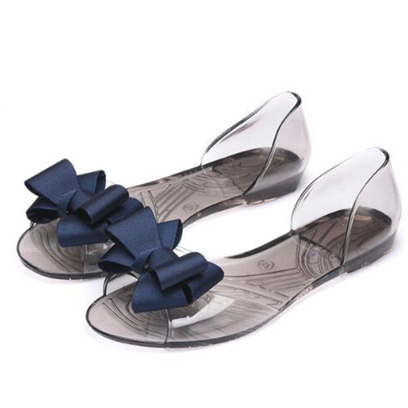 Aneikeh 2018 New Jelly Sandals Women Shoes Sweet Bowtie Flat Shoes Woman Slip On Summer Jelly Shoes 4 Colors Size 35-40 TB-011 hee grand women sandals summer style bling bowtie peep toe jelly shoes woman crystal flats ladies 4 colors size 35 40 xwz3283