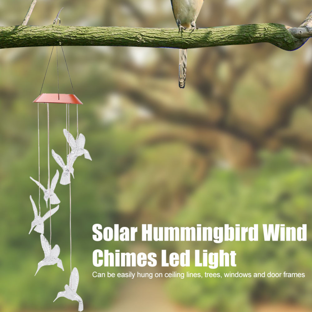 Solar Color Changing Wind Chime LED Light Bird Type Outdoor ...