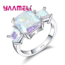 925 Sterling Silver Vintage Jewelry Ring AB Colored Mystic Zircon Stone Fashion Jewelry For Charming Lady Women Gifts(China)