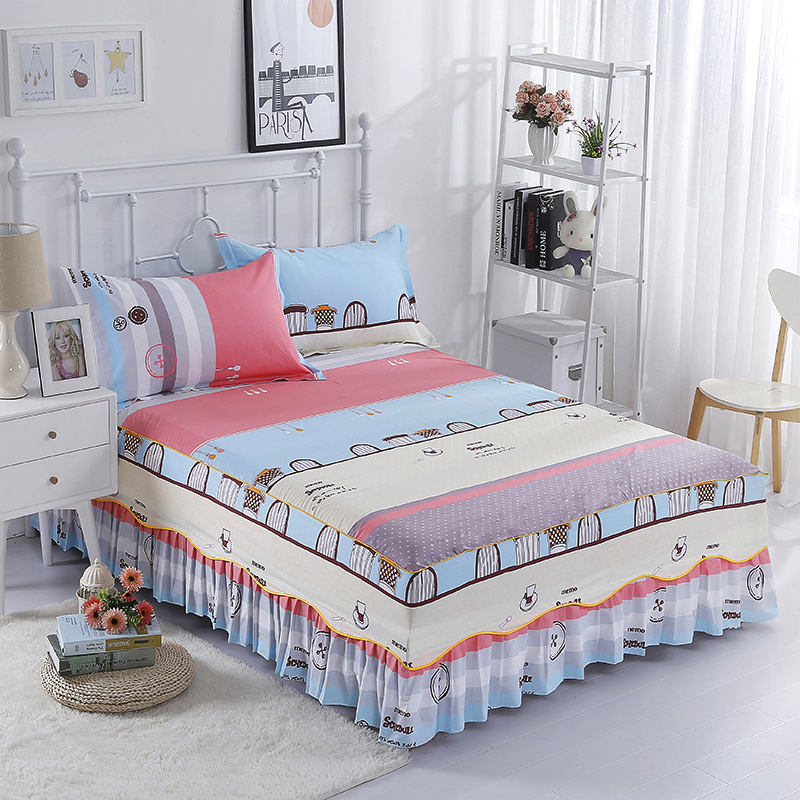 100% Cotton Color Stripes Pattern 3pcs Set Bed Skirts +Pillowcase Bedding More Colour Optional Comfortable And Soft Breathable