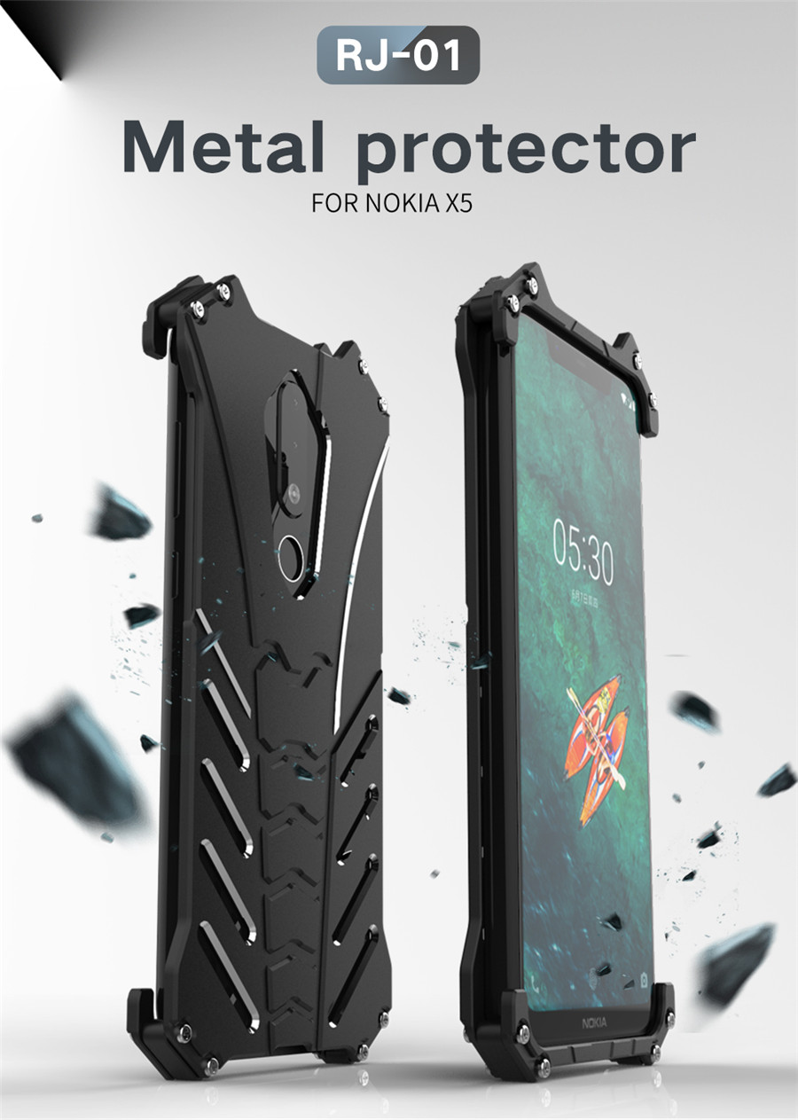 For Nokia X5 Case Original R-JUST Batman Armor Aluminum Metal For Nokia 5.1 plus Case Shockproof Coque (1)
