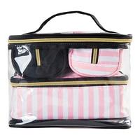 4 Pcs Set PVC Transparent Women Cosmetic Bag Thicker Cute Girl Fashion Travel Make Up Pouch