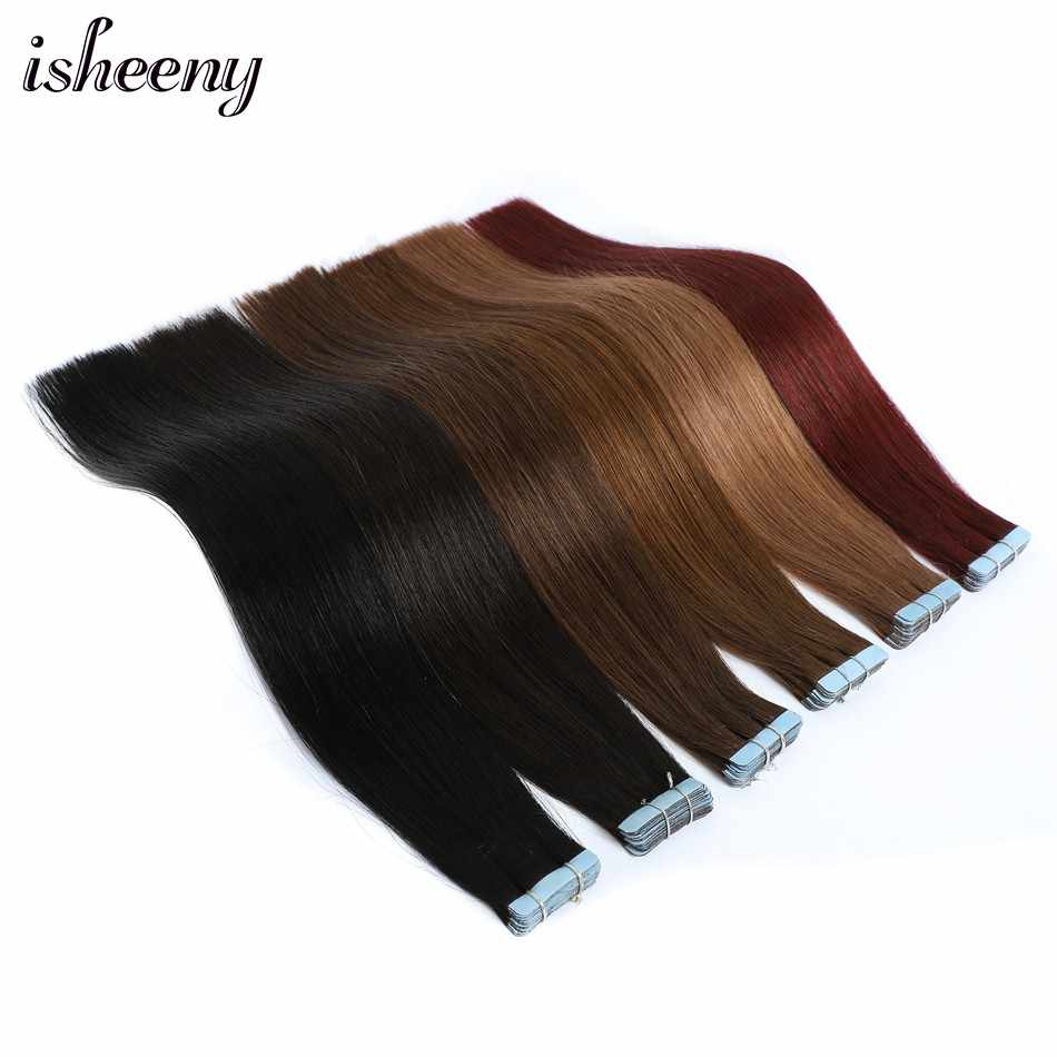 "Isheeny 12"" 14"" 18"" 22"" Remy Tape In Human Hair Extension Mixed Color 18/613# Seamless Tape On Hair Straight Salon Style 20pcs"