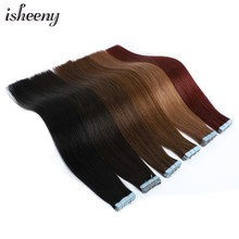 Isheeny 12 14 18 22 Remy Tape In Human Hair Extension Mixed Color 18/613# Seamless Tape On Hair Straight Salon Style 20pcs