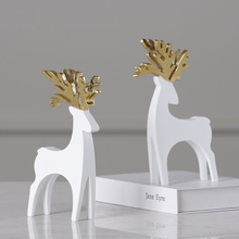 2pcs/set Creative Resin White Couple Deer Statue Modern Simple Style Desktop Crafts Sculpture Home Decoration Ornaments 102