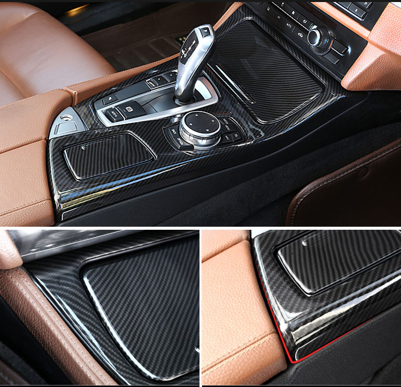 NEW Carbon fiber For BMW 5 Series F10 2014-2017 520li 525li 530li ABS Center Console Gear Shift Panel Cover Trim Car Accessories цены онлайн