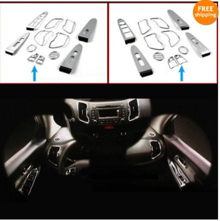 Chrome Car Interior Duct  moulding Cover TRIM For  KIA Sportage R 2011 2012 2013 12pcs/set Car Styling Auto Part Car Accessories interior black rear trunk cargo cover shield 1 pcs for kia sportage 2016 2017