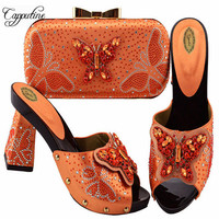 New African Simple Orang Color Shoes And Woman Bags To Match Set Summer Butterfly High Heels Shoes And Bag Set For Party ZS 05