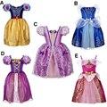 Nueva Princesa de Las Muchachas Vestidos de Fiesta Kids Chica Cenicienta Blancanieves Bella Durmiente Rapunzel Sofia Cosplay Ropa 3-10 T