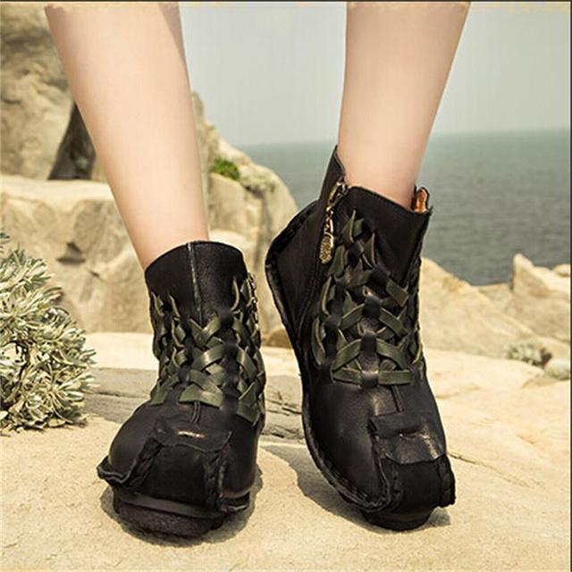 cb5605a33be1a Handmade genuine leather boots personalized unique flat ankle boots  original design first layer of cowhide knitted women boots