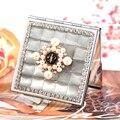 2 стороны, мини красота макияж компактное карманное зеркало, свадьба невесты друг подарок настоящее, кошачий глаз горный хрусталь жемчужина цветок