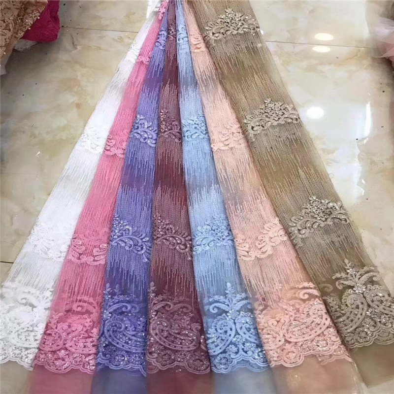 2018 Latest African Tulle Lace High Quality African French Lace with Sequins Double Organza Lace fabric(DP-12-182018 Latest African Tulle Lace High Quality African French Lace with Sequins Double Organza Lace fabric(DP-12-18