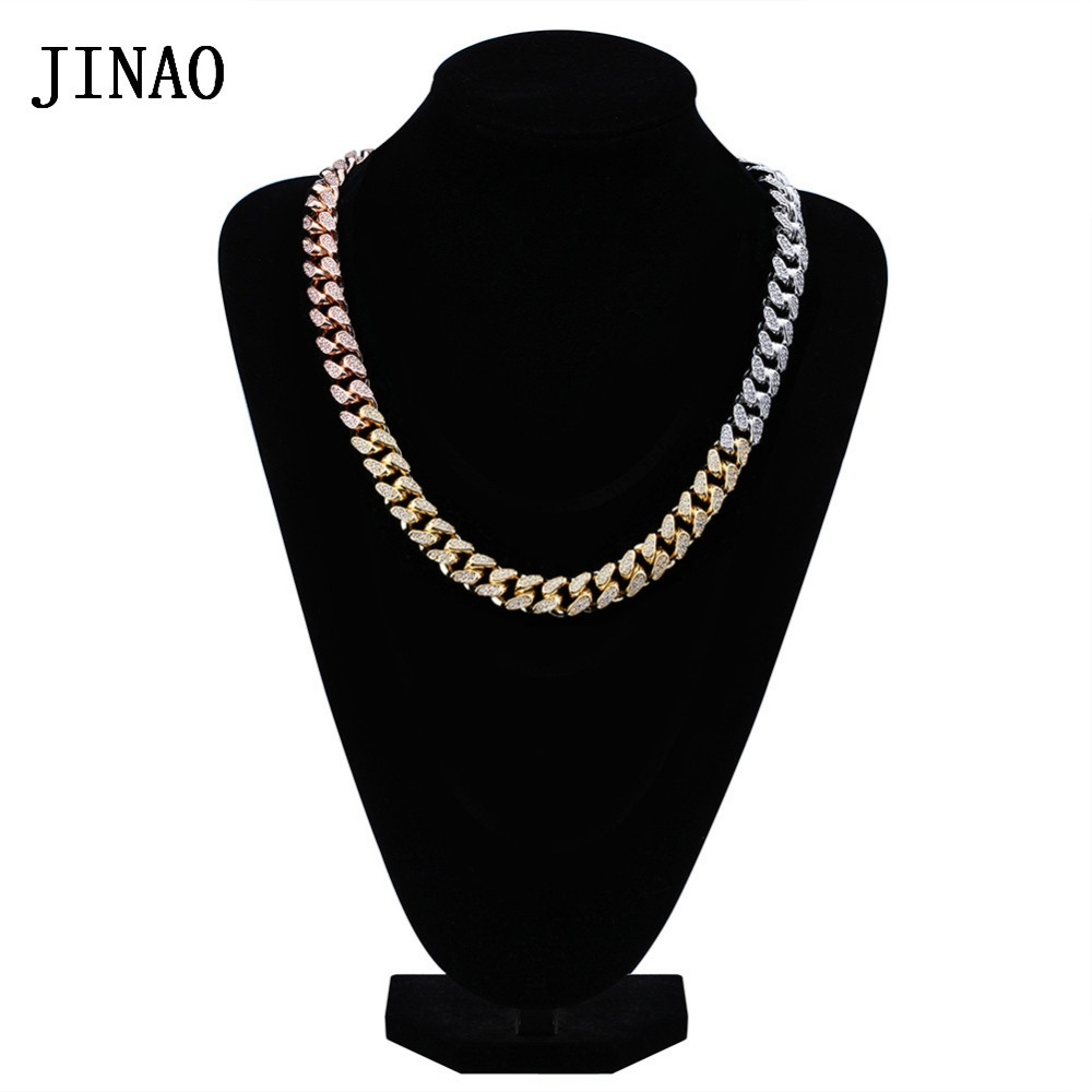 JINAO Men's 14mm Iced Out Zircon Miami Cuban Link Necklace Choker Hip Hop Jewelry Bling Gold Silver Rose Gold Color Chain jinao hip hop fashion 69 saw necklace cubic zircon gold silver saw horror movie theme digit number pendant necklace iced out