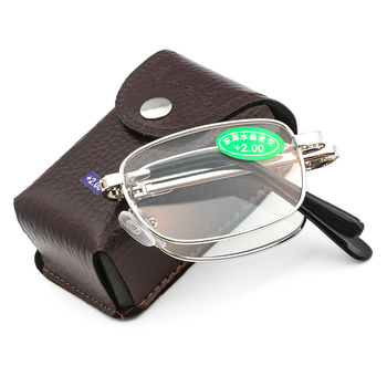 +1.0~4.0 Diopter Unisex Elder Reading Glasses With Box Bifocal Ultralight Folding Magnifying Rimless Eyeglasses New Vision Care 1